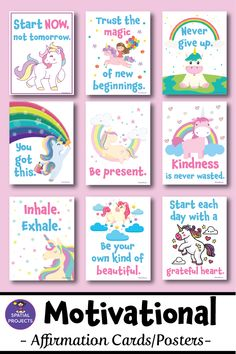 Check out these colorful unicorn motivational posters and affirmation cards. These 35 beautiful affirmation posters are the perfect way to cheer and inspire your students! They are excellent for back to school bulletin board or for decorating your classroom walls. #affirmation #positivity #backtoschool #classroom #motivation