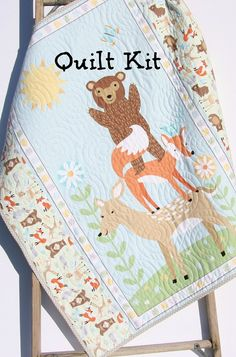 Quilt Kit, FLANNEL, Baby Blanket Panel, Quick Easy, Woodland Forest Fox Deer Bear Owl Outdoor Brown Grey Gray Green Sweet Meadow Boy or Girl by SunnysideFabrics