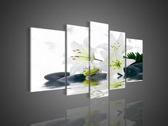 5 Panel Wall Art No Framed Modern Abstract Acrylic Flower Black  And White Lily Oil Painting On Canvas Modern Prints Picture-in Painting  Calligraphy from Home  Garden on Aliexpress.com $45.99