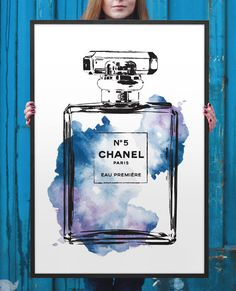 11x17 inches poster Chanel watercolor Blue water colour digital print, Chanel Print, Fashion illustration, Perfume coco chanel, chanel decor