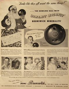 1948 Vintage Brunswick Bowling Ball Ad ~ Mineralite, Vintage Sporting Goods ~ Other