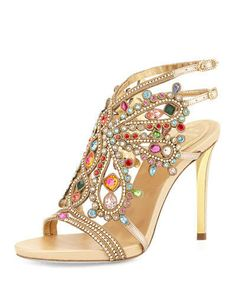 Rene Caovilla Multi-Crystal Strappy Sandal, Gold/Multi
