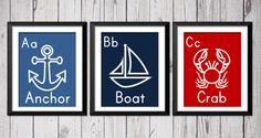 Nautical art prints, anchor boat crab, alphabet nautical wall, 3 8x10, Kids decor, Baby nursery, Typography on Etsy, $25.00