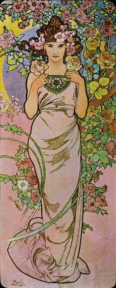 "Alphonse Mucha ""The Flowers: Rose"""
