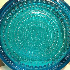 Vintage Blue Iittala Nuutajarvi Notsjo Kastehemi Art Glass Dish Oivia Toikka