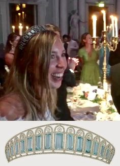 Astrid Bernadotte, great-great-granddaughter of King Oscar II of Sweden, at her wedding reception, July 2017. Unknown tiara closely resembling Russian Empress Alexandra Feodorovna's lost aquamarine, diamond and platinum tiara, made ca. 1900 and pictured below. Is it the same tiara?!?!