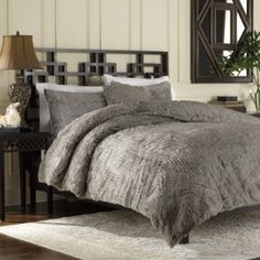 Wolves fabric Luxury Fur Duvet Cover and Sham Set in Grey - BedBathandBeyond.com