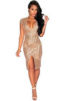 Kearia Women Short Sleeve Deep V-Neck Sequin Split Bodycon Cocktail Party  Dress Gold Large f092ae442