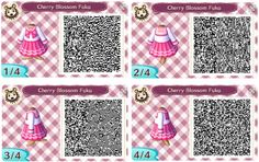 Animal Crossing New Leaf: QR Code dress Cherry blossom fuku.