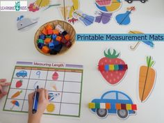 The Measuring Length Activity Mats provide a hands-on opportunity for children to indirectly measure a range of pictures and write their answers on a record sheet. They are great for small group work or learning centre activities to consolidate the. Maths Eyfs, Eyfs Activities, Math Activities For Kids, Preschool Math, Math For Kids, Fun Math, 4 Kids, Numeracy, Eyfs Curriculum