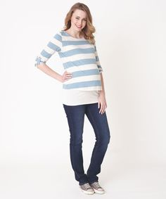 Striped Double Layer Maternity  Nursing Top