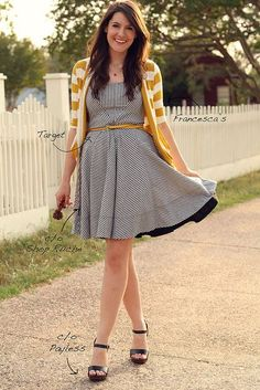 Dress found here http://shopruche.com/days-gone-by-striped-dress.html   Love it with the belt and cardi