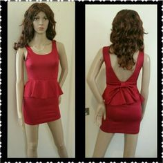 Red Peplum Low Back Mini Dress With Bow Xs