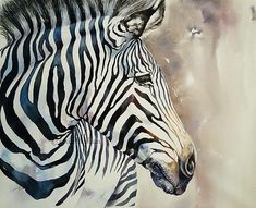 Colorful Zebra portrait Africa Stripes Original Watercolor Painting Wall decor