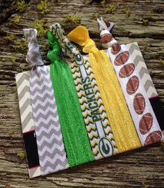 Green Bay Packers Hair Tie Set - Elastic Bracelet - No Crease No Pull - Soft Comfy - Green Yellow Hair Ties - Football - Yoga Hair Ties by StitchesToBritches on Etsy https://www.etsy.com/listing/200622092/green-bay-packers-hair-tie-set-elastic
