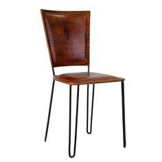 silla asiento y respaldo cuero de cabra alenye