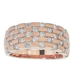 Diamond Ring 1 ct tw Round-cut 10K Rose Gold AX Jewelry. Sizes 6-8, including half sizes. Gorgeous presentation. #Basket weave diamond ring