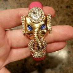 Enamel Jcrew elephant bracelet NWOT Beautiful pink enamel elephant bangle bracelet with crystals. Never worn. Box clasp. J. Crew Jewelry Bracelets