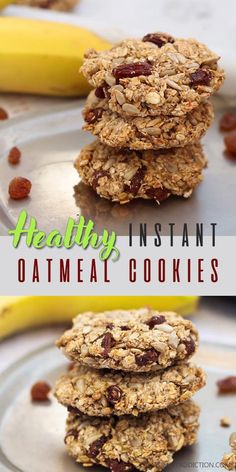 These oatmeal cookies are healthy and nutritious Naturally sweetened and flour-free they make a perfect healthy breakfast or lunch Super easy to make and take only 10 minutes to prepare healthy cookies oats sugarfree breakfast Instant Oatmeal Cookies, Healthy Oatmeal Cookies, Healthy Cookie Recipes, Healthy Sweets, Healthy Baking, Baby Food Recipes, Healthy Breakfast Cookies, Banana Oat Cookies, Healthy Breakfasts