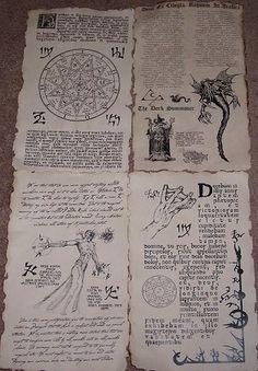 Necronomicon Spells | Necronomicon spellbook pages prop for Cthulhu LARP (set no.8)