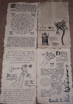 Necronomicon Spells | Necronomicon spellbook pages prop for Cthulhu LARP (set no.8)