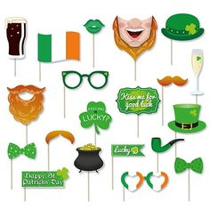 Patricks Photo Booth Props - Pack of 20 Irish Fancy Dress, Party Themes, Party Ideas, Hens Night, Pot Of Gold, Photo Booth Props, Party Packs, Leprechaun, Wedding