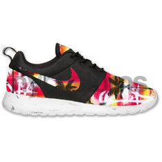 Nike Roshe Run Black White Marble Sunset Palm Tree V1 Print Custom ($215) ❤ liked on Polyvore featuring shoes, nike, sneakers, patterned shoes, black white shoes, black and white shoes and nike footwear