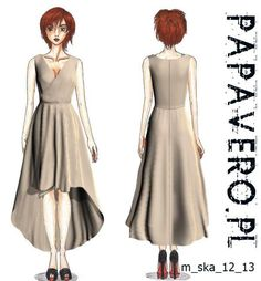 Free Sewing Pattern: Woman&-39-s dress with notch neck- 3/4 sleeves ...