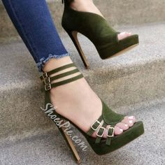 Shoespie Green Platform Buckle Zipper Stiletto Heel Sandals- Shoespie.com