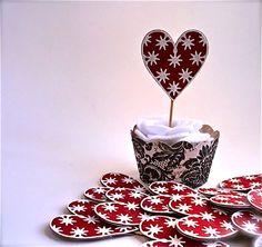 Twelve Red And White Glitter Heart Cupcake Cake by TweedleDDesigns, $8.00