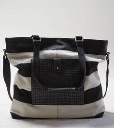 White  AEO Striped Tote Bag