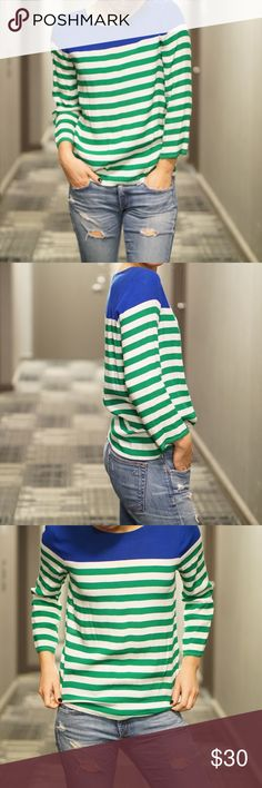 """J. Crew 100% Rayon Striped 3/4 length sleeve Great to pair with jeans. Lightly worn. Blue, green, off white, stripes. I'm 5'4"""" 108 lbs and typically wear a 0 or 00 at J Crew. J. Crew Tops Blouses"""