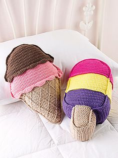 Kids can have summer all year-round with yummy ice cream cone and ice cream bar pillows in their rooms. Cotton yarn makes them soft, comfortable and easy to care for.