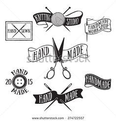 Hand drawn set of vintage handmade labels and logo elements, retro symbols for local tailor shop, knit studio, handcrafted company. - stock vector