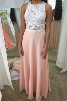 This dress could be custom made, there are no extra cost to do custom size and color, Halter Neck Ivory Top Beadings Blush Crepe Chiffon Prom Beaded Chiffon, White Chiffon, Beaded Lace, Robes D'occasion, Bleu Royal, Prom Dresses, Formal Dresses, Junior Dresses, Evening Dresses