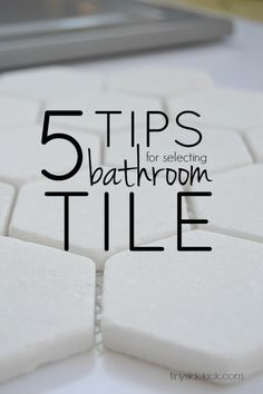 5 tips for selecting bathroom tile: Choosing tile during a bathroom renovation can be so stressful because there are just so many choices. These 5 easy tips were so helpful to narrow down the choices! Bathroom Kids, Bathroom Renos, Laundry In Bathroom, Bathroom Renovations, Small Bathroom, Home Remodeling, Kid Bathrooms, Master Bathroom, Basement Bathroom
