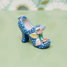 Vintage Ceramic Miniature Shoe Figurine Blue   Japan
