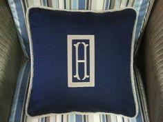 Monogram outdoor pillow Sunbrella fabric