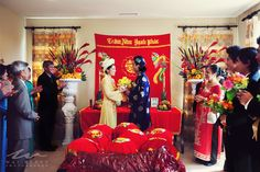 Vietnamese Wedding Tea Ceremony | After all the gifts have been opened, tea was served to their parents ...