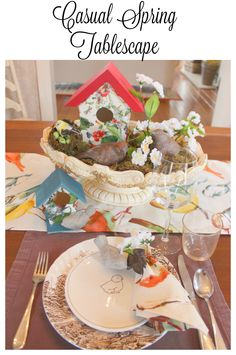 A bird themed casual spring tablescape for Easter or any spring lunch or dinner.