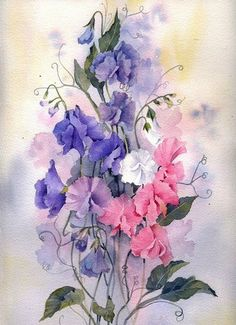 Mini Gallery – Watercolour Painting by Rachel McNaughton Watercolour Painting, Watercolor Flowers, Painting & Drawing, Watercolours, Art Floral, Watercolor Pictures, Botanical Prints, Beautiful Paintings, Flower Art
