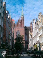 Polska Gdańsk ul.Bazylika Mariacka widok z ul. Mariackiej