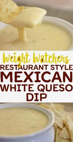This Mexican white queso dip is a creamy cheese dip that contains just 3 . Restaurant style white queso dip skillet topped with fresh salsa. Ww Recipes, Mexican Food Recipes, Gourmet Recipes, Cooking Recipes, Recipies, Mexican Cooking, Weight Watchers Appetizers, Weight Watchers Meals, Weight Watchers Restaurant Points