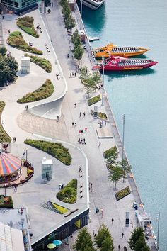 "Plant beds help soften the space on the top amusement park level at Chicago's Navy Pier. Photo © Sahar Coston-Hardy for Navy Pier, Inc., and James Corner Field. Read ""Pier Review / Una Visita al Muelle"" in the December 2017 issue of Landscape Architecture Magazine. #landscapearchitecturecourtyard"