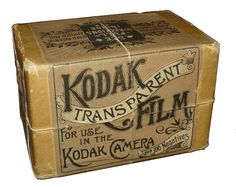 "1889. Kodak Transparent Fil for use in the Kodak Camera, for 100 Negatives. The first photographic film was made from highly flammable nitrocellulose with camphor as a plasticizer making celluloid. (Beginning in the 1920s, nitrate film was replaced with cellulose acetate or ""safety film."")"