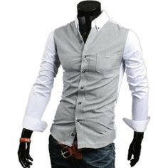Mens Fashion Luxury Casual Slim Fit Stylish Long Sleeve Dress Shirts 2colors (L( US S ), white) TRURENDI, To SEE or BUY just CLICK on AMAZON right here http://www.amazon.com/dp/B00IOG9FR6/ref=cm_sw_r_pi_dp_kIeDtb1T2C3ZSPPZ