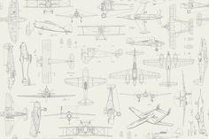Airplane Fabric QT Aviator Vintage Plane Sketches 7192