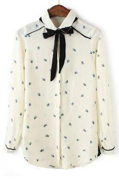 Honeybee Button-up Chiffon Shirt - OASAP.com