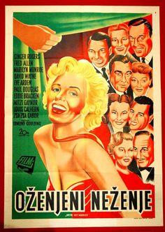 """We're Not Married"" - Ginger Rogers, Fred Allen, Marilyn Monroe, David Wayne, Eve Arden, Paul Douglas, Eddie Bracken, Louis Calhern, Mitzi Gaynor and Zsa Zsa Gabor. Yugoslavian Movie Poster, 1952."