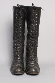 Vintage FRYE Tall Lace Up Boots Black Label - Size 10 Woman
